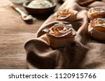 tasty apple roses from puff... | Shutterstock . vector #1120915766