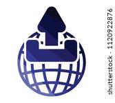 globe with upload symbol icon....