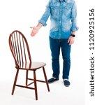sit down please. a man in...   Shutterstock . vector #1120925156