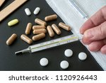 traditional medical thermometer ...   Shutterstock . vector #1120926443