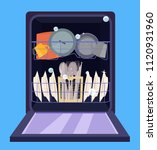 open dishwasher with clean... | Shutterstock .eps vector #1120931960