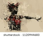 abstract woman portreit.... | Shutterstock . vector #1120944683