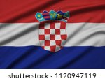 croatia flag  is depicted on a... | Shutterstock . vector #1120947119