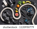 sports equipment and healthy... | Shutterstock . vector #1120950779