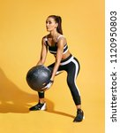 athletic woman doing exercise... | Shutterstock . vector #1120950803
