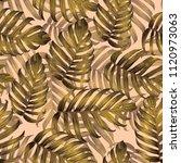 Palm Monstera Seamless Pattern. ...