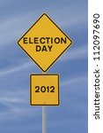 road sign announcing the 2012... | Shutterstock . vector #112097690