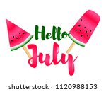 red watermelon slices ice cream ... | Shutterstock .eps vector #1120988153