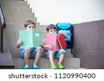 children go back to school.... | Shutterstock . vector #1120990400