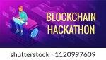 isometric blockchain hackathon... | Shutterstock .eps vector #1120997609