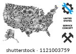 Repair service USA with Alaska map mosaic of instruments. Abstract territorial plan in grey color. Vector USA with Alaska map is made of gears, hammers and other technical icons.