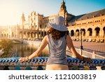 woman admiring plaza de espana  ... | Shutterstock . vector #1121003819
