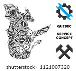 Repair workshop Quebec Province map composition of instruments. Abstract geographic scheme in grey color. Vector Quebec Province map is made of gear wheels, screwdrivers and other machinery icons.