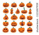set of halloween scary pumpkins.... | Shutterstock .eps vector #1121007959