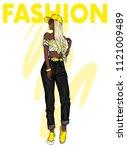 a tall slender girl with long...   Shutterstock .eps vector #1121009489