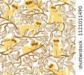 seamless pattern with cats.... | Shutterstock .eps vector #1121011490