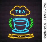 tea neon light glowing vector... | Shutterstock .eps vector #1121017790
