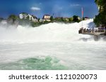 rhine falls in switzerland  ... | Shutterstock . vector #1121020073