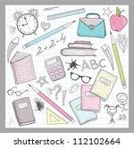 school supplies elements on... | Shutterstock .eps vector #112102664