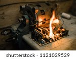 overloaded electrical circuit... | Shutterstock . vector #1121029529