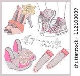 fashion shoes set | Shutterstock .eps vector #112103039