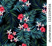 seamless hand drawn exotic... | Shutterstock .eps vector #1121034536