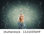 puzzled young woman in front of ... | Shutterstock . vector #1121035649