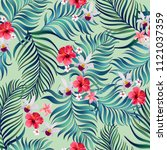 seamless hand drawn exotic... | Shutterstock .eps vector #1121037359