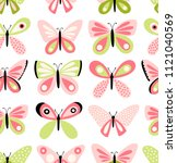 Stock vector  butterflies vector pattern seamless background with butterfly freehand drawing cute girly style 1121040569