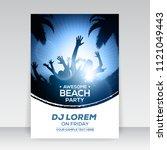 blue summer beach party flyer... | Shutterstock .eps vector #1121049443