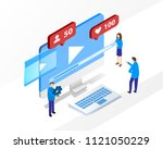 build your own video blog... | Shutterstock .eps vector #1121050229