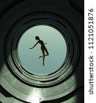 girl floating above the open... | Shutterstock . vector #1121051876