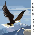 the mighty eagle soars over... | Shutterstock .eps vector #1121055323