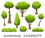 cartoon bush and tree set.... | Shutterstock .eps vector #1121056379