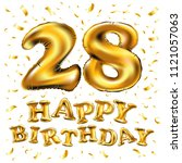 raster copy happy birthday 28rd ... | Shutterstock . vector #1121057063