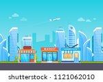 building of shop  supermarket ... | Shutterstock .eps vector #1121062010
