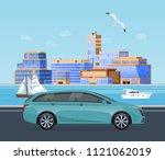 trip along an asphalt road on... | Shutterstock .eps vector #1121062019