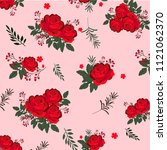 red floral background pattern      Shutterstock .eps vector #1121062370