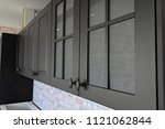 black handles vintage style on... | Shutterstock . vector #1121062844