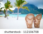 two chairs on a beautiful beach ...   Shutterstock . vector #112106708