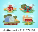 set of farm houses.  greenhouse ... | Shutterstock .eps vector #1121074100
