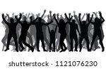 silhouettes of people in full... | Shutterstock .eps vector #1121076230