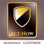 gold emblem or badge with... | Shutterstock .eps vector #1121078630