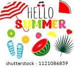 vector hello summer holiday... | Shutterstock .eps vector #1121086859