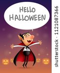 cartoon dracula says hello... | Shutterstock .eps vector #1121087366