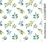 watercolor flower seamless... | Shutterstock . vector #1121089889