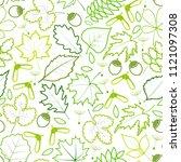 green leaves seamless pattern.... | Shutterstock . vector #1121097308