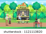 delicious pizza street cart... | Shutterstock .eps vector #1121113820