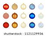 set of color xmas balls.... | Shutterstock . vector #1121129936