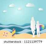 summer sea picture origami made ... | Shutterstock .eps vector #1121139779